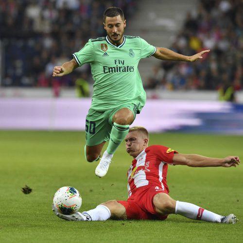 Reals Eden Hazard, im Bild gegen Rasmus Kristensen, gelang das Tor des Abends.ap