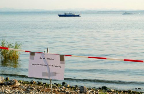Seit Bekanntwerden der Verschmutzung sind die Badestrände bei Friedrichshafen bis auf Weiteres gesperrt. dpa