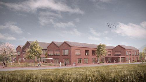 So soll das neue Bildungszentrum in Frastanz-Hofen nach seiner Fertigstellung aussehen.MGF