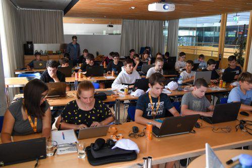 Volle Konzentration: Noch bis 16. August sind die Jugendlichen bei Omicron und lernen, eine Website zu programmieren. VN/Lerch