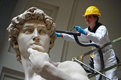 Wurde umsorgt: Michelangelos David-Skulptur. ap