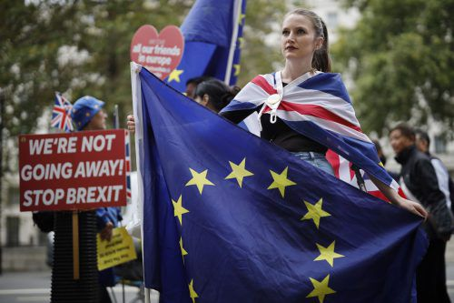 Anti-Brexit-Aktivisten demonstrieren vor dem Regierungsgebäude in London.  afp