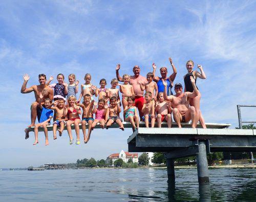 Beim diesjährigen Schwimmkurs der Wasserrettung Bregenz im Lochauer Strandbad waren 16 Kinder im Alter von fünf bis neun Jahren aktiv mit dabei. bms