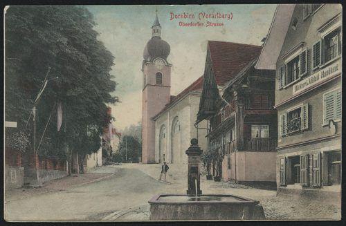 Die Oberdorfer Straße mit Blick auf den Kirchturm 1907.