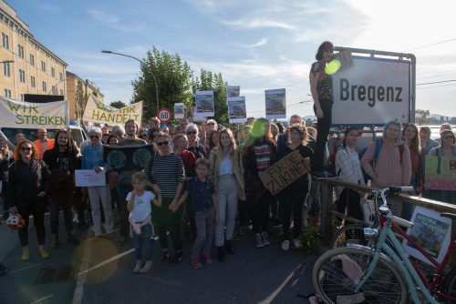 Die Teilnehmer der Aktion Fridays-For-Future sind auch in der Landeshauptstadt Bregenz aktiv. wölfling