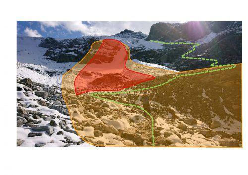 Eingefärbte Gefahrenbereiche beim Aufstieg zum Piz Puin. Gemeinde Gaschurn