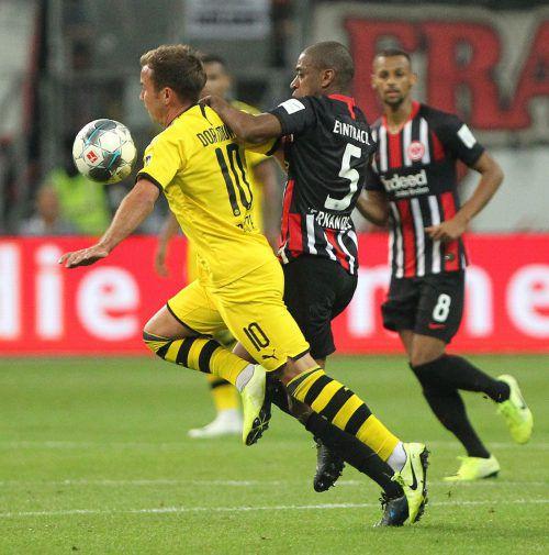 Eintracht Frankfurt und Borussia Dortmund lieferten sich einen heißen Kampf. Afp