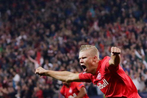 Erling Braut Haaland schreit die Freude förmlich raus. Der Norweger erzielte drei Treffer.Reuters