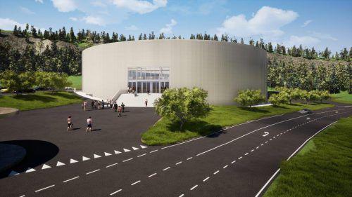 Rund wie ein Puck: Die Kosten für die Eishalle mit Diskothek werden mit rund zehn Millionen Euro beziffert, 5,5 Millionen kommen von privaten Investoren und Sponsoren. Rendering