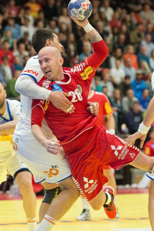 Beim 29:28-Erfolg gegen Spanien im April dieses Jahres im Dornbirner Messestadion erzielte Robert Weber zehn Tore. APA