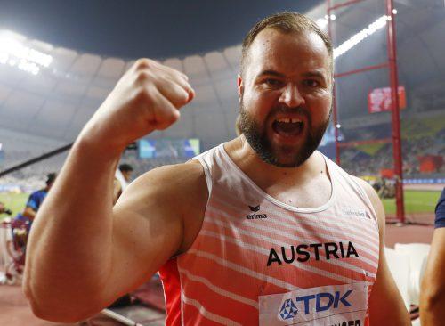 Jubel nach der Bronzemedaille bei Diskusriese Lukas Weißhaidinger.reuters