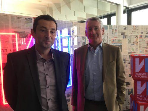 Kapsch BusinessCom-Vorstandschef Franz Semmernegg und Vorarlberg-Statthalter Kuno Schoder pflegen Kooperationen mit Vorarlberger Hightech-Firmen. VN-Sca