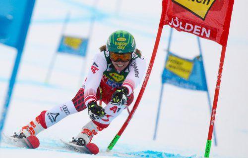 Katharina Liensberger war beim Sölden-Riesentorlauf 2018 als 16. zweitbeste ÖSV-Läuferin hinter der auf Rang fünf klassierten Stephanie Brunner.gepa