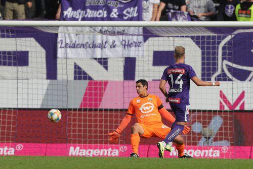 Mit diesem Treffer zum 1:0 leitete Christoph Monschein die Niederlage des SCR Altach bei den zuletzt formschwachen Kickern von Austria Wien ein. Altach-Goalie Martin Kobras war dabei machtlos.Gepa