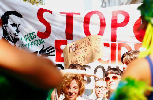 Proteste gegen das Mercosur-Abkommen auch in Brüssel: Klimaaktivisten fordern den Schutz des Regenwaldes. RTS