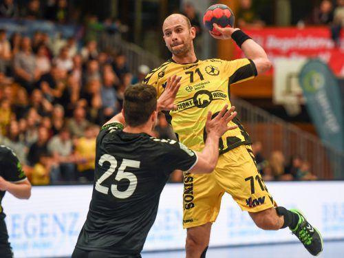 Routinier Vlatko Mitkov war mit acht Treffern erfolgreichster Bregenzer Werfer bei der 25:26-Niederlage in Ferlach.VN/Sams