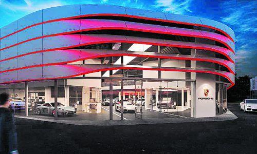Spätestens Anfang 2021 soll das Autohaus fertiggestellt sein.Lins