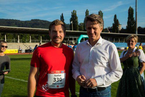 Stefan Flatz (l.) lief mit, Christian Beer (Heron) feuerte seine Mitarbeiter an.