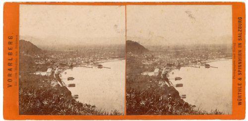 """""""Vorarlberg, Nr. 38, Bregenz am Bodensee."""" Stereoskopische Aufnahme von Würthle & Spinnhirn in Salzburg 1880."""