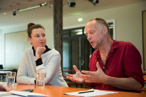 Zwischen den Proben nahmen sich Catharina May und Johannes Lepper Zeit für ein VN-Interview. VN/Paulitsch
