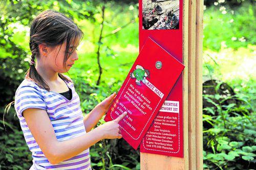 """Aufkleber des """"Schmugglerpeters"""" markieren den Routenverlauf des Grenzerpfads. Zehn Erlebnisstationen bieten Informationen über Flora und Fauna. Sulzberg"""