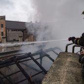 Königliche Reitschule in Turin in Flammen