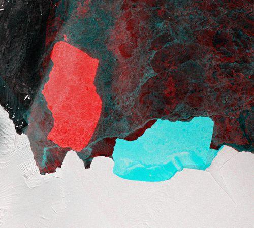 """Der Eisberg mit Namen """"D28"""" hat sich um 90 Grad gedreht.  ESA/Copernicus Sentinel"""