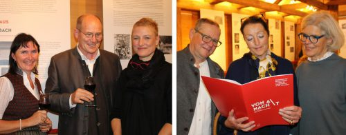 Franz Rüf mit Natalie Lässer (l.) und Ellen Nenning. Irmi Sachs-Ritter mit Moderator Erich und Bgm. Angelika Schwarzmann.