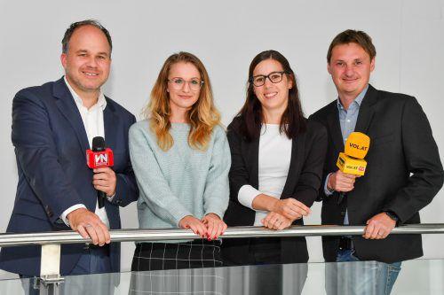 Führen durch die Wahlsendung: VN-CR Gerold Riedmann, Mirijam Haller, Birgit Entner-Gerhold und VOL.AT-CR Marc Springer. VN/Lerch