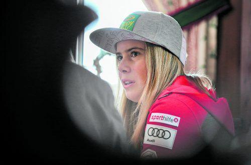 Für den Weltcupstart in Sölden in zwei Wochen sieht es düster aus, Katharina Liensberger fehlt immer noch ein Schuhausrüster.gepa