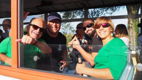 Gute Stimmung im Zügle schon vor der Abfahrt: Shorty, Ian, Stefano und Sabine.C. Egle