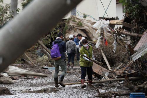 Immense Zerstörung nach dem Taifun in der japanischen Stadt Nagano. AFP