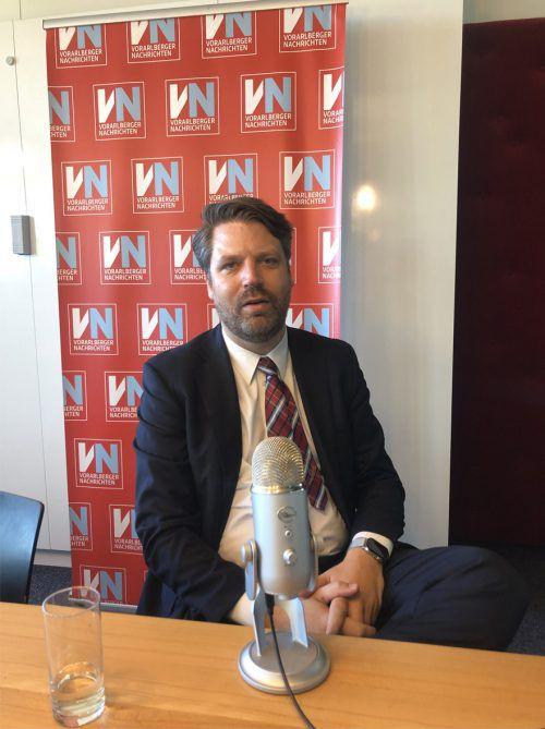 """Krimmer kürzlich im Interview mit dem VN-Podcast """"VN-Woche"""". VN/MIP"""
