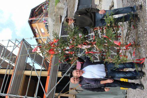 """Planer Johannes Kaufmann, Bertram Bischof und Zimmerer Helmut Feuerstein (v. l.) machen den traditionellen Firstbaum """"startklar"""". STRAUSS"""