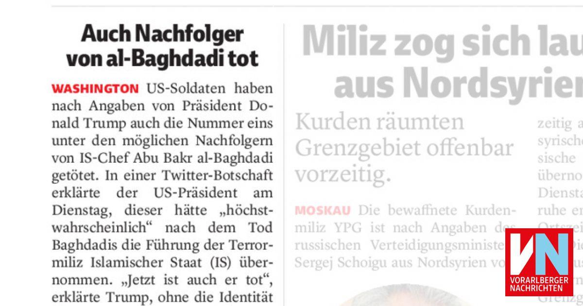 Auch Nachfolger Von Al Baghdadi Tot Vorarlberger Nachrichten Vn At