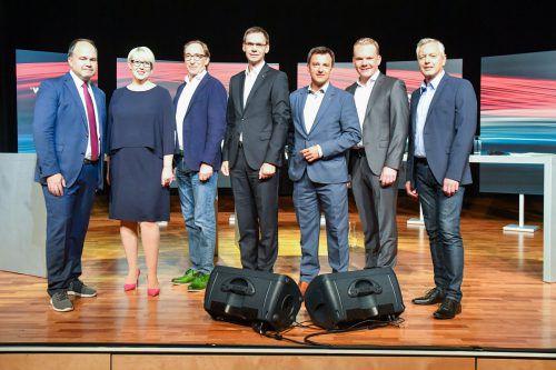 Die Spitzenkandidaten (v.li.): Sabine Schefknecht, Johannes Rauch, Markus Wallner, Martin Staudinger und Christof Bitschi. VN/Lerch