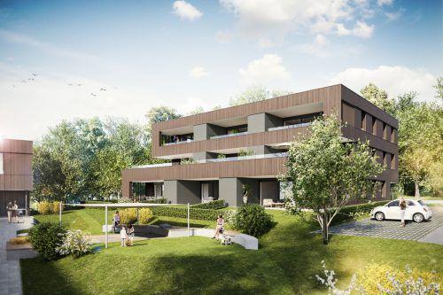 Zwei solche Wohngebäude mit je neun Wohnungen sollen bis Sommer 2021 fertiggestellt werden. Am Montag erfolgte der Spatenstich. i+R Wohnbau