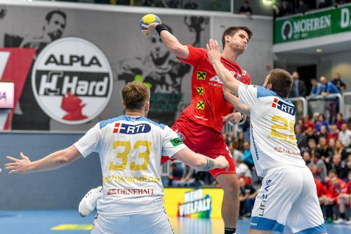 Alpla-HC-Hard-Scharfschütze Ivan Horvat erzielte neun Treffer beim 30:25-Arbeitssieg über Linz. GEPA