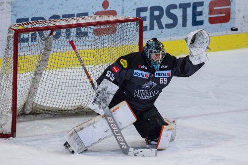 Auf Bulldogs-Goalie Juha Järvenpää wartet in Znojmo wohl wieder viel Arbeit.GEPA