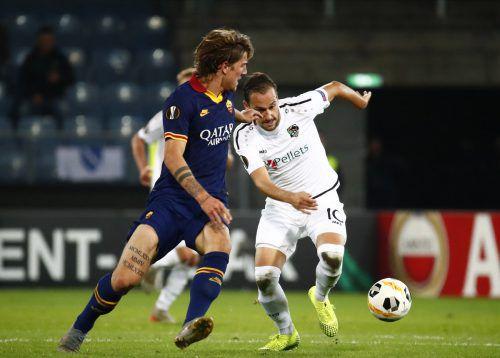 Beim letzten Heimspiel in der Europa League gegen AS Rom erzielte der Thüringer Michael Liendl (r.) ein Traumtor für den WAC. Apa