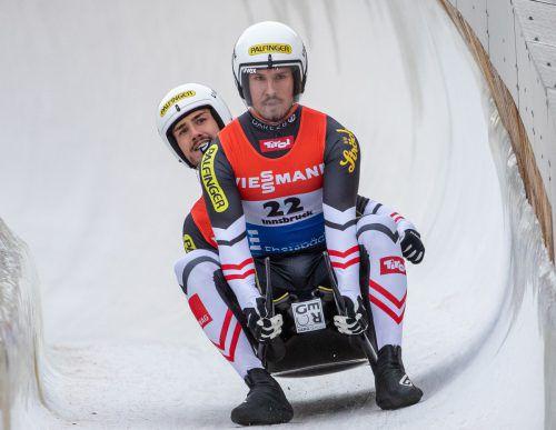 Bereits am Samstag durfte sich der österreichische Rodel-Verband freuen, Thomas Steu und Lorenz Koller fuhren im Doppelsitzer auf den dritten Rang.APA