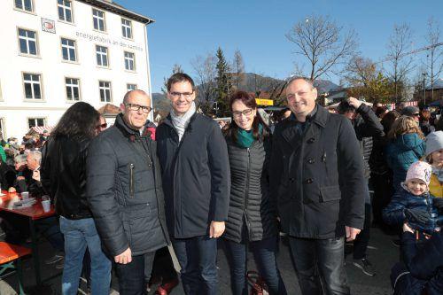 Bürgermeister Walter Gohm, Landeshauptmann Markus Wallner und Sonja sowie WIGE-Obmann Alexander Krista. ame