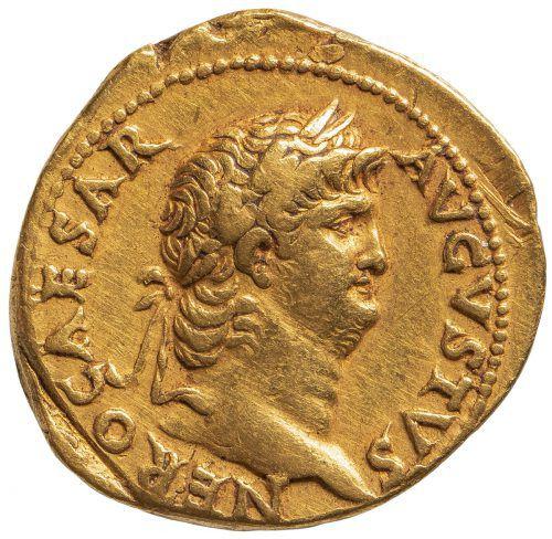 Büste des Nero auf einer Münze, die etwa 65 n. Chr. in Rom geprägt wurde. khm