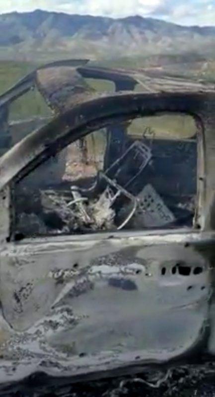 Das ausgebrannte Auto der Mormonin. Reuters