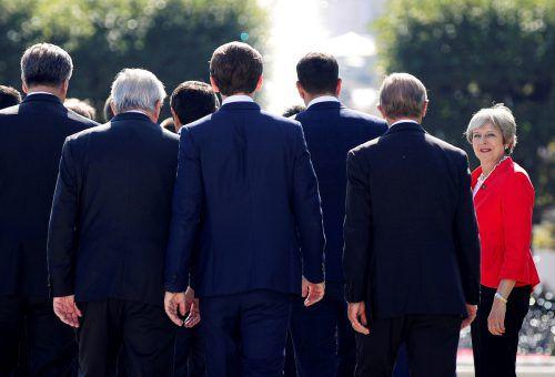 Das Siegerbild zeigt Theresa May beim informellen EU-Gipfel in Salzburg.