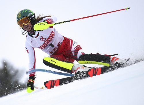 Der erste Renneinsatz von Katharina Liensberger ist in acht Tagen beim Slalom im finnischen Levi geplant.GEPA