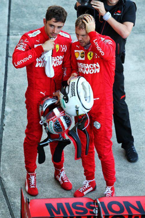 Der Haussegen bei Ferrari zwischen Sebastian Vettel (r.) und Charles Leclerc ist in Sao Paulo ordentlich in Schieflage geraten.AFP