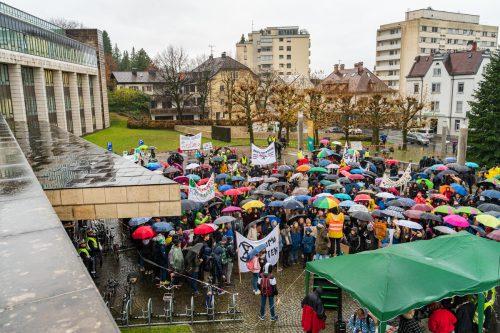 Die Vorarlberger Bildungsdirektion hatte den Streik zur schulbezogenen Veranstaltung erklärt. Aktivistin Hildegard Breiner war eine der Rednerinnen. VN/Stiplovsek