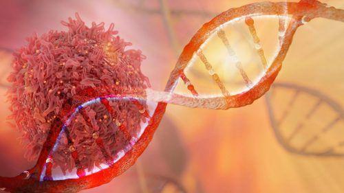 Diese eindrückliche Aufnahme zeigt eine Krebszelle auf einem DNA-Strang.iStock