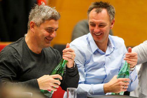 Dornbirns Trainer Markus Mader (links) anlässlich der Trainerfortbildung mit Neo-Horn-Coach Hansi Kleer.gepa